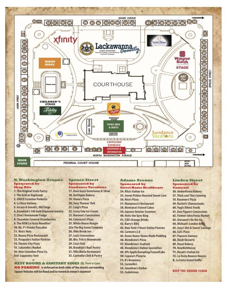 La Festa Vendor Map 2016